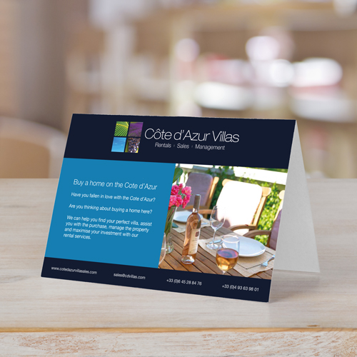 Design, Print and Deliver A6 tent cards to the Cote d'Azur in the South of France